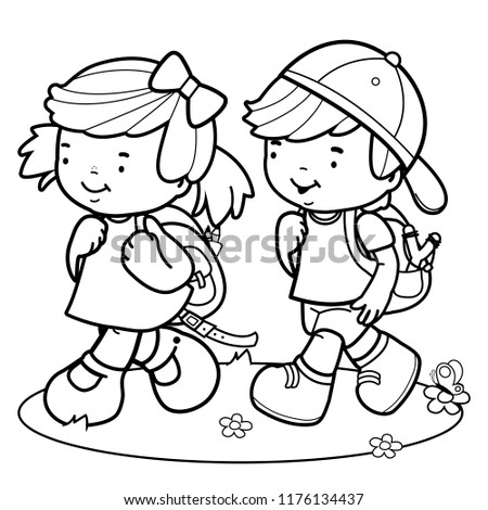 Children Walk School Black White Coloring Stock Vector (Royalty Free ...