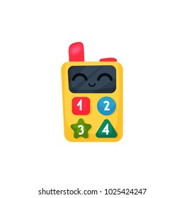Children walkie-talkie or cell phone with colorful buttons and numbers. Concept of kids toy. Colorful portable radio. Cartoon flat vector icon