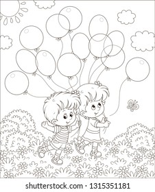 Children walking with balloons in a park on a sunny summer day, black and white vector illustration in a cartoon style for a coloring book