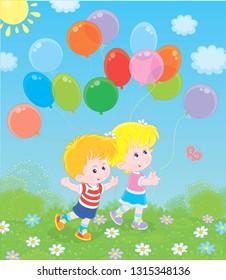Children walking with colorful balloons in a park on a sunny summer day, vector illustration in a cartoon style