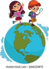 Children walking on planet. (Vector illustration)