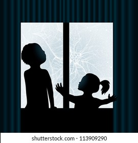 Children are watching Frost on the window / Christmas Flower Poinsettia
