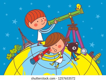 Children watching the sky with a telescope