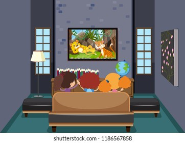 Children watching TV in living room illustration