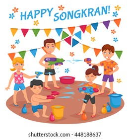 Children water fights on Songkran festival in Thailand flat vector illustration