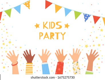 Children wave their hands at a party with flags. Children's hands raised up. The concept of a children's holiday and a happy childhood