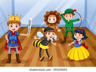 Children wearing different costume for the play