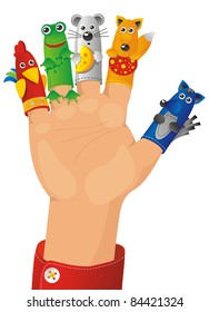 children wearing a hand with fingers on puppets - Tales characters