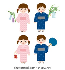 Children wearing Yukata at the Tanabata Festival.