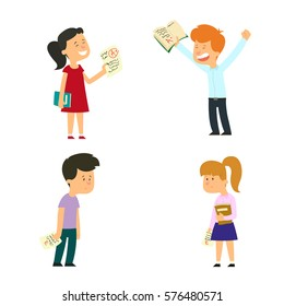 Children who have received excellent and a bad score. vector illustration.