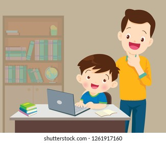 Children working laptop,Dad be happy for something of children boy with laptop.