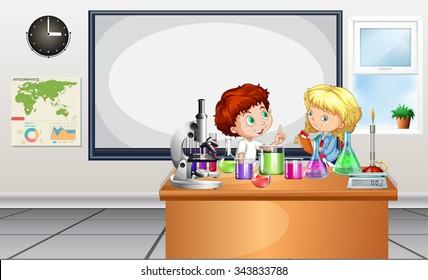 Children working on lab experiment illustration