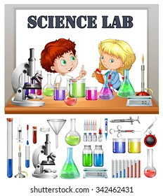 Children working in the science lab illustration