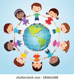 Children of the world. America globe.