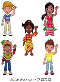 Children in the world. Cartoon and vector isolated characters.