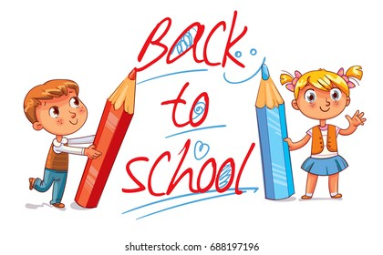 Children write on the wall with large pencils. Children write big letters. The inscription Back to School. Funny cartoon character. Vector illustration. Isolated on white background
