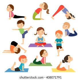 Children yoga. Kids doing yoga in different yoga poses. Vector illustration