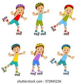 children,boys and girls on roller skates collection on a white background,illustration,vector