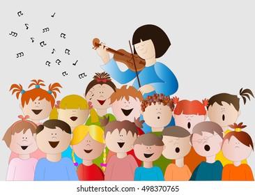 Children choir clip art sketch coloring page - Clipartix