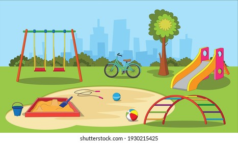 Childrenkids playground with a swing, slide, climbing ladder, sand box, bicycle and toys.