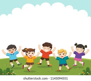 Children's activities. Happy children are jumping on the park.