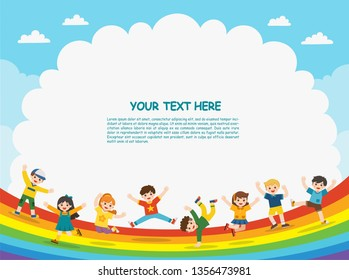 Children's activities. Happy children are jumping on rainbow background.Template for advertising brochure.