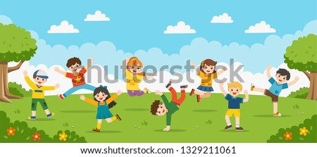 94a01bed2fc5f Children s activities. Happy children are jumping on the park.Template for  advertising brochure.