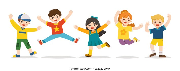 Children's activities. Happy kids jumping together on the background. Boys and girls are playing together happily. Vector illustration.