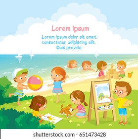 Children's activities  at the summer camp. Children illustration with sea and summer background.