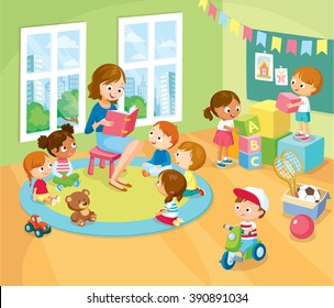 children's activity in the kinder garden, reading books, playing, education