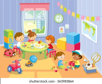 children's activity in the play room