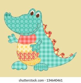 Children's application. Crocodile. Patchwork series. Vector illustration.