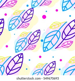 Children's background, seamless pattern, doodle leaves, turquoise, purple and yellow. Good for kids background, Valentine's Day, birthday, party, cards and wrapping paper.
