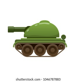 Children's beautiful realistic toy battle tank, armored car. Green tank, armored combat vehicles. Military transport unit. Kid's toys entertainment, cartoon subjects. Illustration isolated.