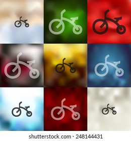childrens bike icon on blurred background