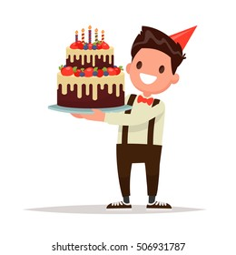 Children's birthday.  Boy holding a large cake. Vector illustration in a flat style