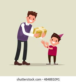 Children's birthday. The father gives his son a gift for his birthday. Vector illustration of a flat design.