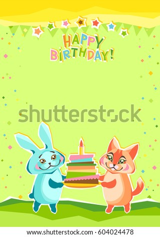 childrens birthday greeting card background hare stock vector