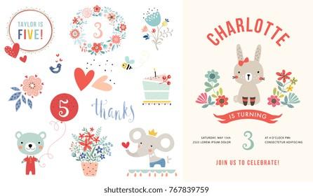 Children's birthday party invitation. Vector illustration.