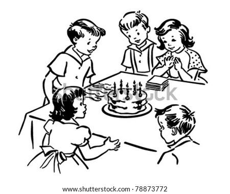 Childrens Birthday Party Retro Clipart Illustration Stock
