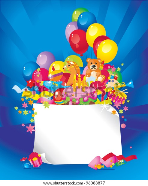 Magnificent Childrens Birthday Toys Birthday Cake Balloons Stockvector Funny Birthday Cards Online Fluifree Goldxyz