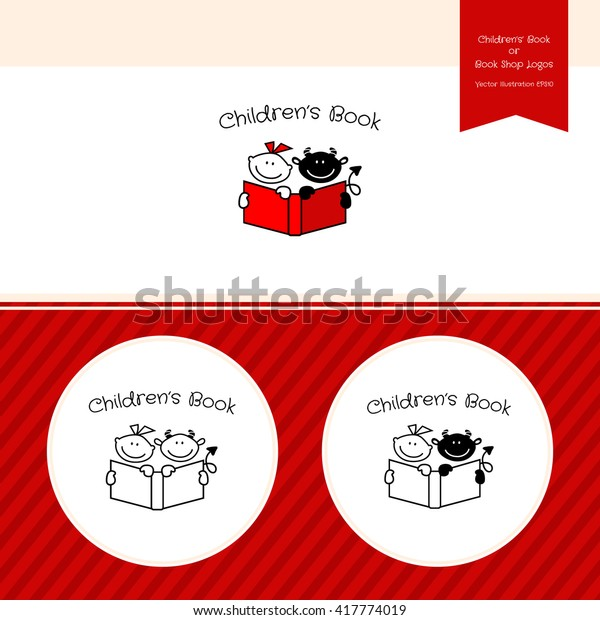 Childrens Book Publishing Logo Template Bookstore Stock Vector