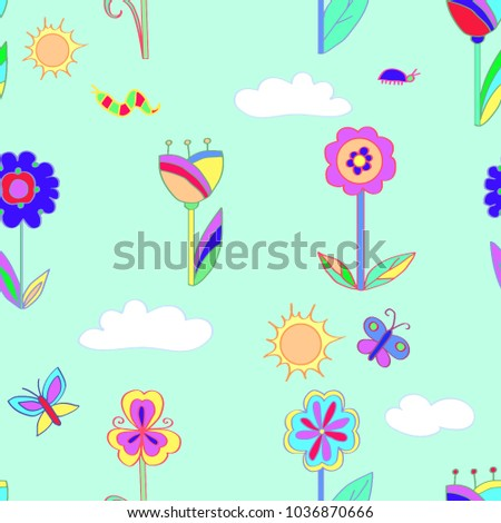 Childrens Bright Pattern Background Childrens Themes Stock Vector