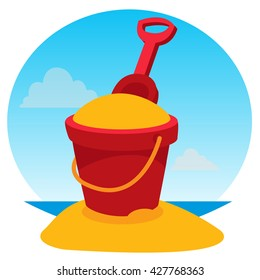 Children's bucket with sand and rake. Color illustration of a summer theme.