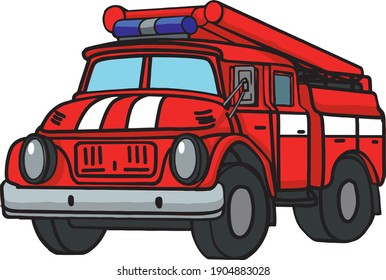Childrens cartoon fire truck cute vector color picture