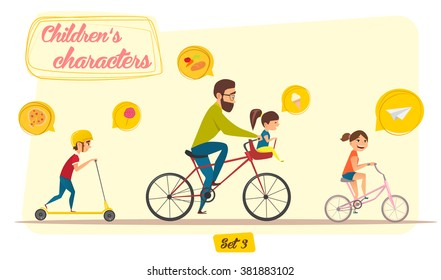 Children's characters. Happy family set. Bicycle theme