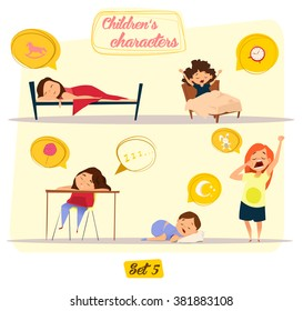 Children's characters. Happy kids set. Sleepy theme