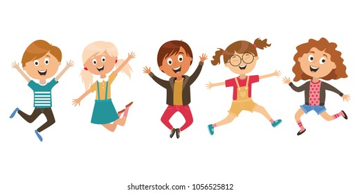children's characters. jumping children. winners joy, happiness. vector