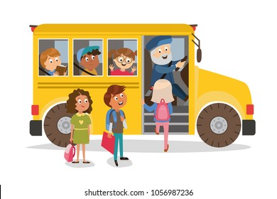 children's characters. the school bus takes students on an excursion. classes. vector