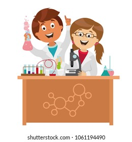 children's characters. school research in chemistry. smart children. vector